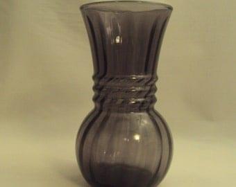 Vintage Indiana Glass Amethyst Purple Optic Flower Vase