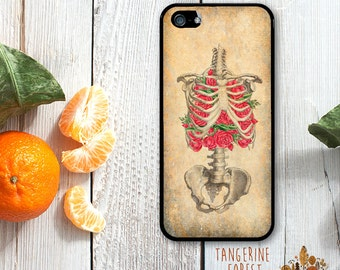 Medical Illustration Ribcage With Roses. Available for iPhone 4/4s, 5/5s, 5c, 6/6s or 6+/6s+