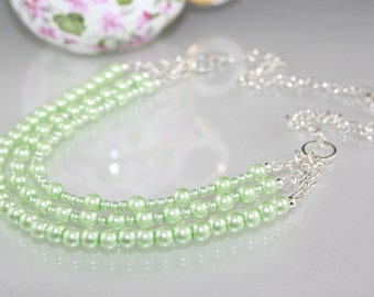 Mint Green Glass Pearl Necklace