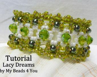 PDF Beading Tutorial, Beaded Embellished Bracelet, Beadwoven Bracelet Pattern, Beading Pattern, Beadwork Tutorial, Seed Bead Tutorial