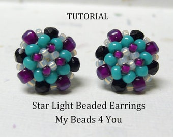 PDF Beading Tutorial, Beaded Earring Tutorial,Seed Bead Tutorial, Beadwork Pattern, Seed Bead Earrings Pattern, Beadwoven Earrings