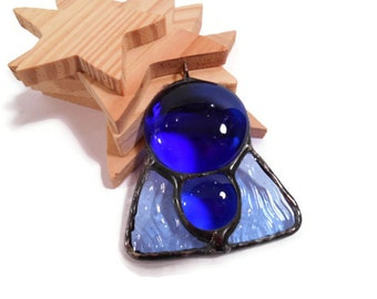 Stained Glass Jewelry Blue Globes Glass Pendant Glass and Metal Jewelry Necklace Handmade Blue Glass Pendant
