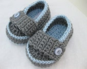 Baby Boy Shoes / Slippers / Booties - Light Blue & Grey - YOUR choice size - (newborn - 12 months) - photo prop - children