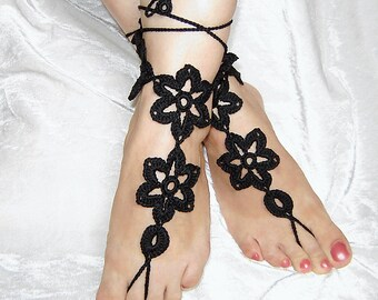 Black  flowers crochet  barefoot sandals.