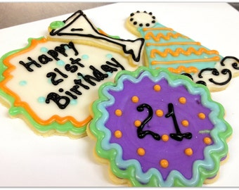 Birthday Sugar Cookies Martini 21st Birthday Party Hat Sugar Cookies