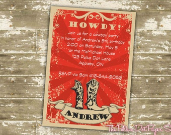 Color Customizable Cowboy Party Invitations