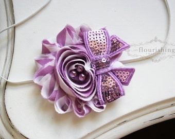 Lavender Chiffon Flower headband, baby flower headbands, lavender headbands, newborn headbands, photography prop