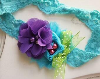 Purple, Lime and  Turquoise headband, chiffon headbands, newborn headbands, turquoise lace headbands,photography prop