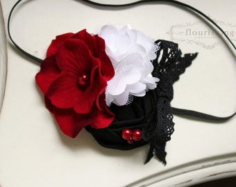 Red, Black and White rosette flower headband, holiday headbands, newborn headbands, red headbands, photography prop, christmas headbands