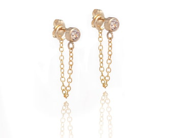 Stone and Chain Earrings - Cubic Zirconia - 14k Gold Filled - Dangling Earrings - Stud and Chain