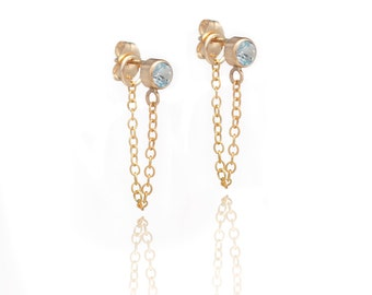 Stone and Chain Earrings - Swiss Blue Topaz - 14k Gold Filled - Dangling Earrings - Stud and Chain