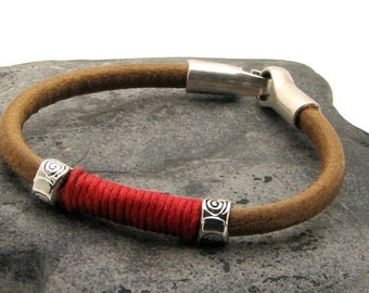 EXPRESS SHIPPING Unisex leather bracelet Natural  leather bracelet with metallized tribal spacers and silver plated clasp