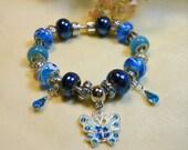 European Charm Bracelets, Blue Butterfly Bracelets, Murano Bead Bracelets, Unique Gift Ideas