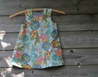 Reversible dress for  2  year old little girl in 100% cotton