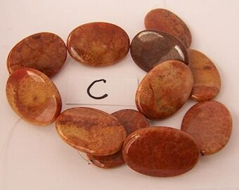 "Red Indonesian Fossil Coral - 15.5"" strand - Flat Oval"