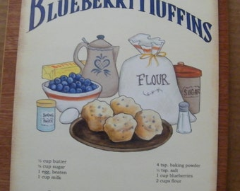 Retro Vintage Country Blueberry Muffin Recipe Sign Wood Wall Decor
