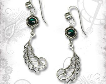 Emerald Peacock Feather Earrings - ZaDeeDa The Mystic Seeker Collection - Peacock Paradise Earrings