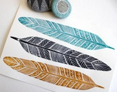 Feather Painting - Watercolor Art - Archival Print - Summer Plumes