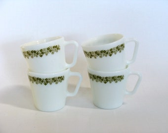Pyrex White Milk Glass Cups Mugs Spring Blossom Pattern, Stackable White Green Crazy Daisy Design Cups Mugs Set of Four