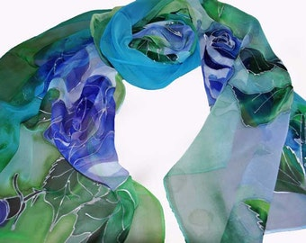 Blue roses/ Painted luxury silk scarf/ woman silk scarf/ hand painted silk scarf/ blue and green silk scarf/ Painted by Gabyga accessory