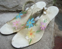 Mod Hand Painted Flower Vinyl Strap Sandals c 1960-1970