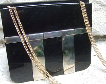 SAKS FIFTH AVENUE Sleek Ebony Lucite Handbag c 1970