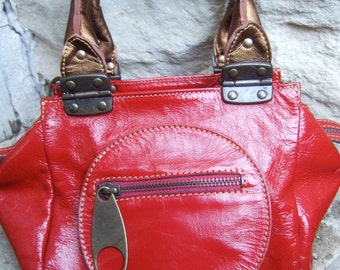 Italian Patent Leather Mod Red Handbag
