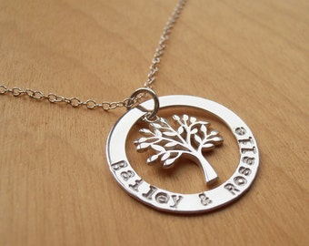 Family Tree Necklace - Silver Circle With Stamped Names & Tree - Sterling Silver