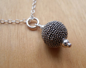 Long Silver Bead Necklace - Sterling Silver