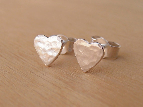 Tiny Silver Heart Stud Earrings - Hammered Finish - Sterling Silver