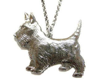 Silver Terrier Dog Pendant Necklace