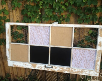 CUSTOM 8 Pane Shabby Chic Old Window - Reclaimed - Wedding - CHALKBOARD - MAGNETIC - Cork board - Burlap - Chicken Wire -Bulletin Memo Board