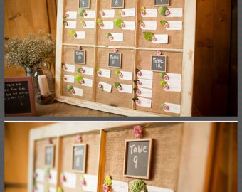 RECLAIMED Old Window - Custom - Chalkboard - MAGNETIC - Cork board - BURLAP - fabric jute - Chicken Wire - Wedding - Office - Calendar -Memo
