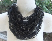 Dark Grey Leather & Silk Organza Crocheted Scarf Necklace