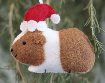Cute Felt Guinea Pig With Santa Hat Ornament