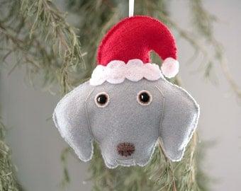 Cute Felt Weimaraner with Santa Hat Dog Ornament