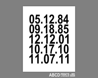 Important dates art print, Family Special dates, Personalized date print,Wedding Date print PRINTABLE