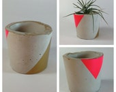 NEW Neon Pink and Gold Triangle Modern Concrete Planter