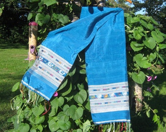 Vintage Silk Scarf  Wrap, Blue Green, Raw Silk, Soft Drape, Textured, Boho Formal