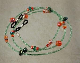 Eyeglass Strap, Green Strap, Eyeglass holder, Crystal Strap