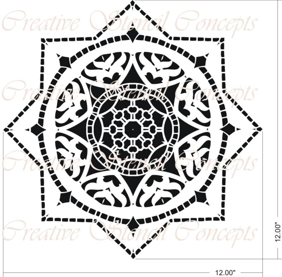 Decorative Star Mandala Design Stencil Ceiling Medallion