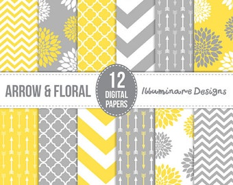 Yellow and Gray Digital Paper: Digital Scrapbooking Wedding Paper in Chevron, Arrow, Floral and Quatrefoil Backgrounds  - Commercial Use Ok