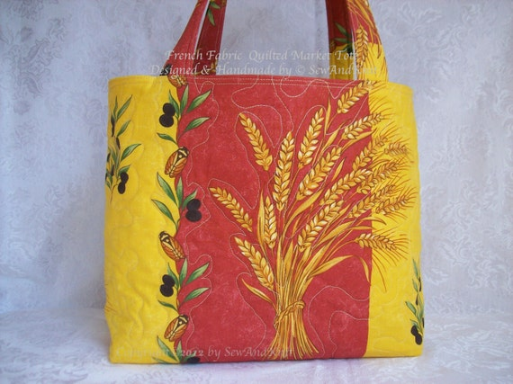 Market Bag, Quilted Shopping Tote, Quilted Purse, Craft Bag or Diaper Bag with Wheat & Olives on Red / Yellow Cotton Provence Fabric