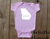 Georgia Home State PEACH Baby Girls Infant Bodysuit/Creeper - Baby Girls