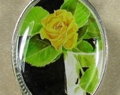 Yellow Rose in Vase Oval Pendant/Charm