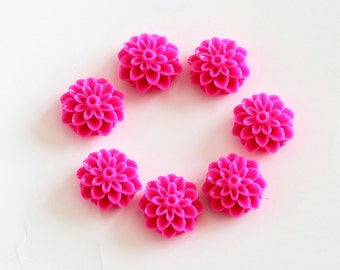 5 pcs Hot pink resin flowers / Resin cameo / Resin cabochon