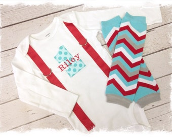 BOYS FIRST BIRTHDAY Outfit-Cake Smash Outfit-Boys Red and Aqua Birthday Birthday Outfit-My 1st Birthday Set-Option to Add Leg Warmers