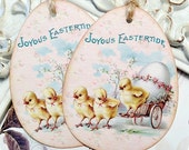 Shabby Egg Tags (6) Easter Favor Tags-Easter Treat Tags-Easter Gift Tags-Shabby Easter Tags-Vintage Easter Tags-Easter Basket Tags
