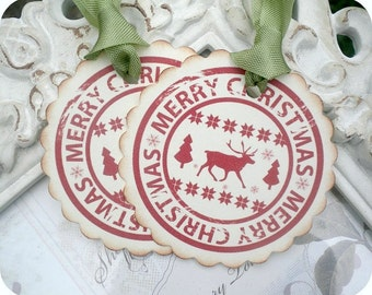 Merry Christmas Reindeer Tags - Set of 6