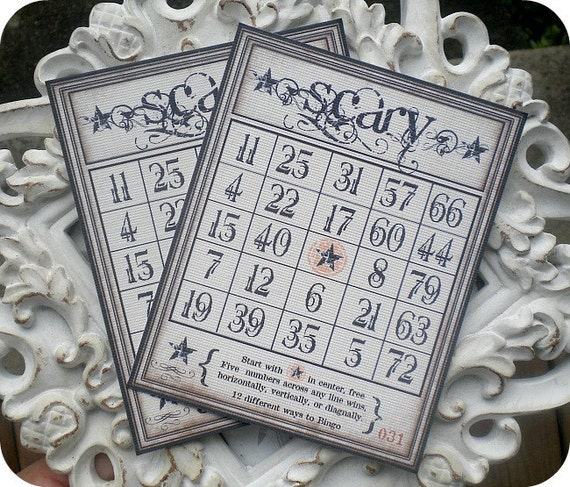 Vintage Style Scary Halloween Bingo Cards - Set of 4